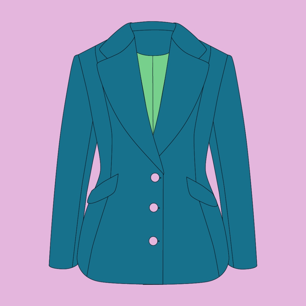 Line drawing of a shaped slim fitting jacket